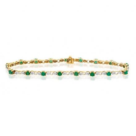 9K Gold 0.17ct Diamond & Emerald Bracelet, G1376